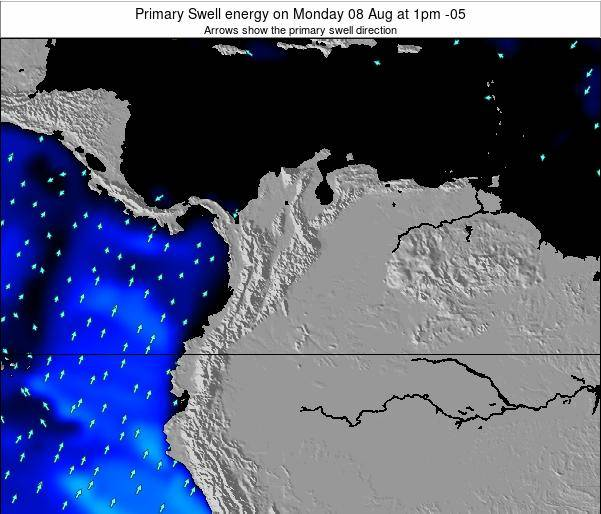 Colombia Primary Swell energy on Tuesday 10 Dec at 7am COT