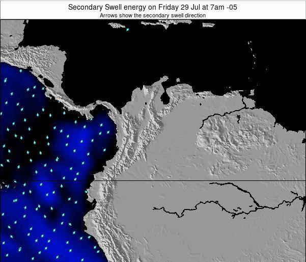 Colombia Secondary Swell energy on Saturday 14 Dec at 1am COT