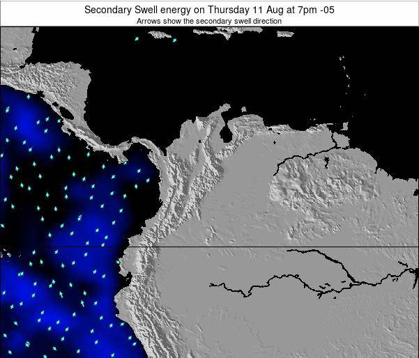 Colombia Secondary Swell energy on Sunday 26 May at 1pm COT