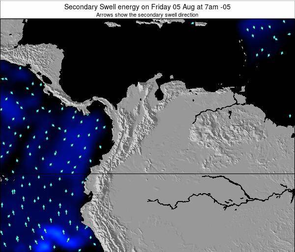 Colombia Secondary Swell energy on Monday 10 Mar at 7pm COT
