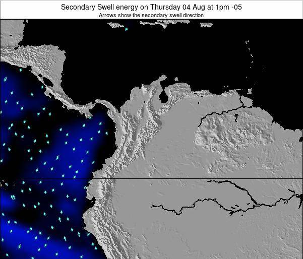 Colombia Secondary Swell energy on Saturday 02 Aug at 1pm COT