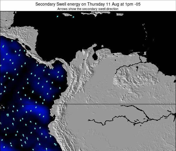 Colombia Secondary Swell energy on Wednesday 29 May at 1pm COT