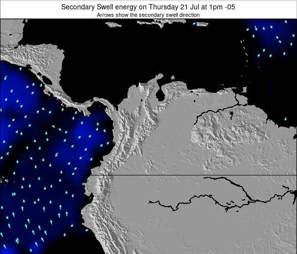Colombia Secondary Swell energy on Saturday 26 May at 7pm COT map