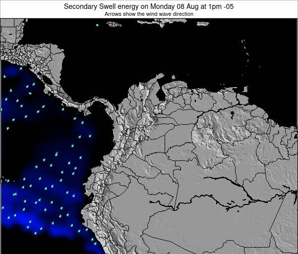 Colombia Secondary Swell energy on Sunday 20 Apr at 1pm COT