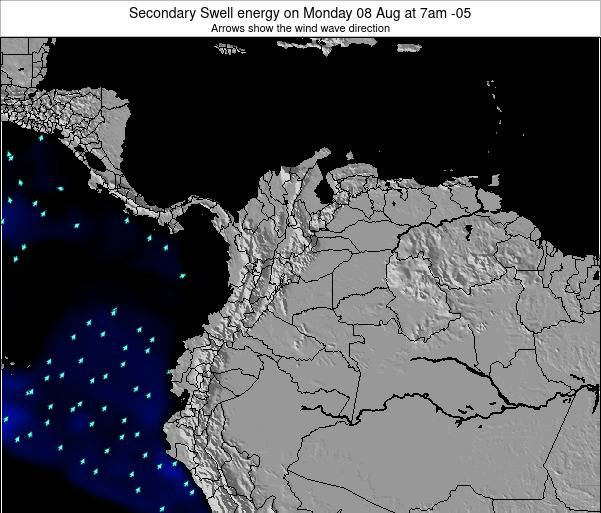 Colombia Secondary Swell energy on Saturday 01 Nov at 1pm COT