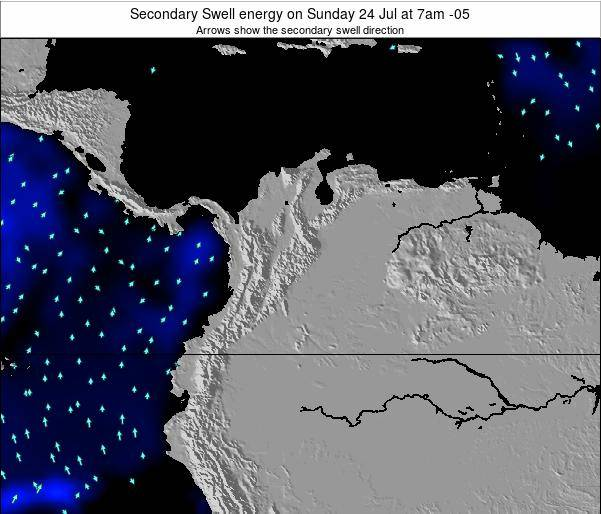 Colombia Secondary Swell energy on Tuesday 10 Dec at 7pm COT