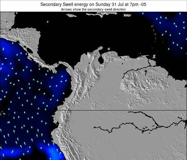 Colombia Secondary Swell energy on Thursday 24 Jul at 7am COT