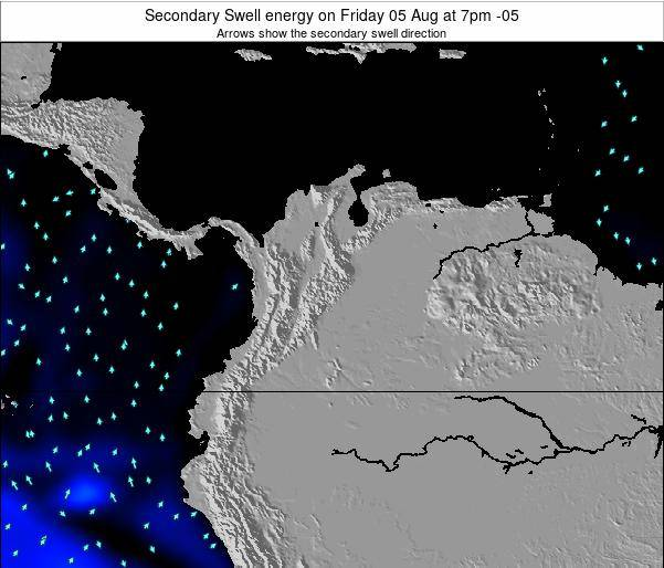 Colombia Secondary Swell energy on Saturday 22 Jun at 1pm COT