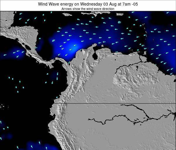 Colombia Wind Wave energy on Tuesday 13 Nov at 1am COT map