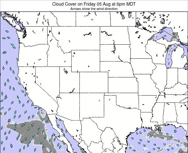 Colorado Cloud Cover on Tuesday 10 Dec at 11am MST map