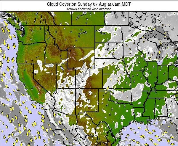Colorado Cloud Cover on Sunday 27 Jul at 12pm MDT map