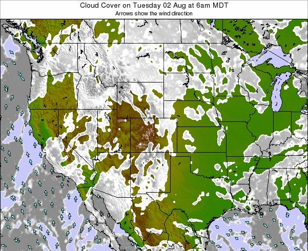 Colorado Cloud Cover on Monday 04 Aug at 12am MDT map