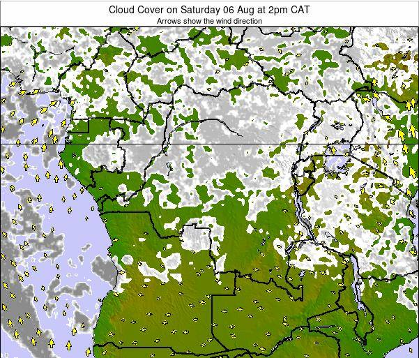 DR Congo Cloud Cover on Sunday 19 May at 2pm CAT map