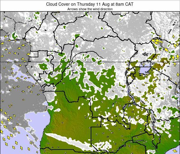 DR Congo Cloud Cover on Saturday 25 May at 2pm CAT map