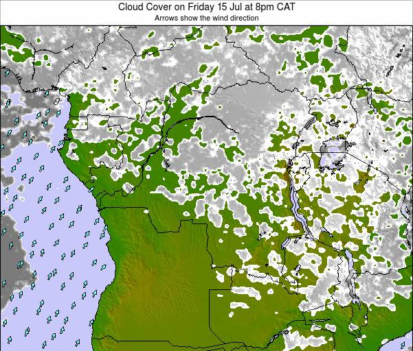 DR Congo Cloud Cover on Sunday 19 May at 8am CAT map