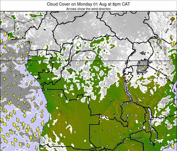 DR Congo Cloud Cover on Wednesday 22 May at 2am CAT map