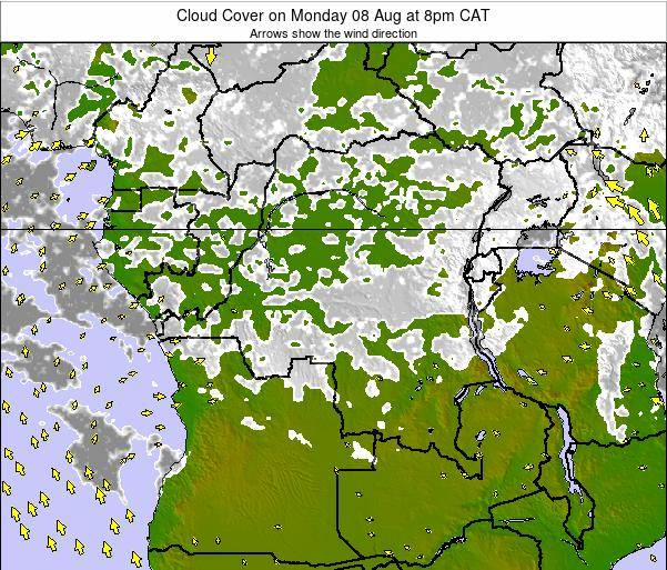 DR Congo Cloud Cover on Sunday 23 Jun at 2am CAT map