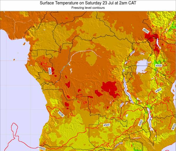 DR Congo Surface Temperature on Saturday 25 May at 8pm CAT map