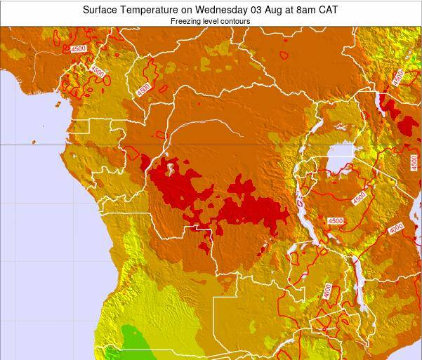 DR Congo Surface Temperature on Sunday 26 May at 2pm CAT map