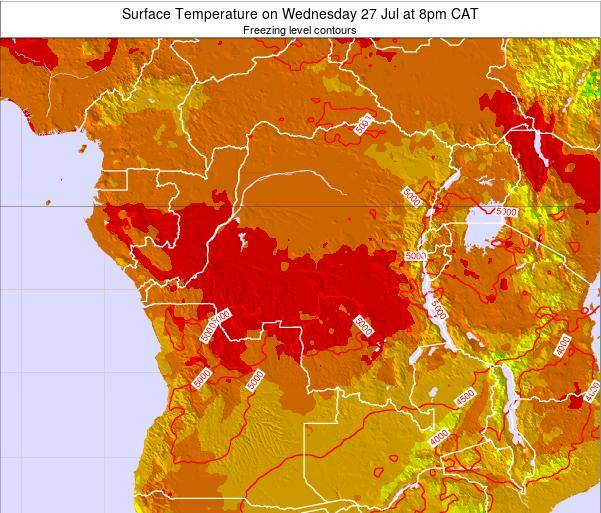 DR Congo Surface Temperature on Saturday 25 May at 2am CAT map