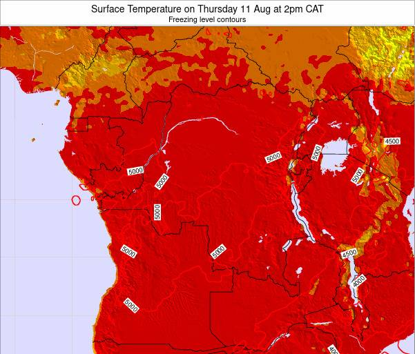 DR Congo Surface Temperature on Saturday 22 Jun at 2pm CAT map