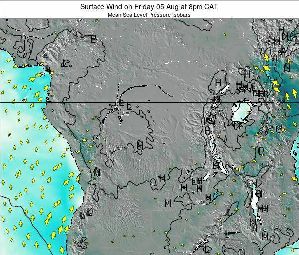 DR Congo Surface Wind on Saturday 25 May at 8pm CAT map