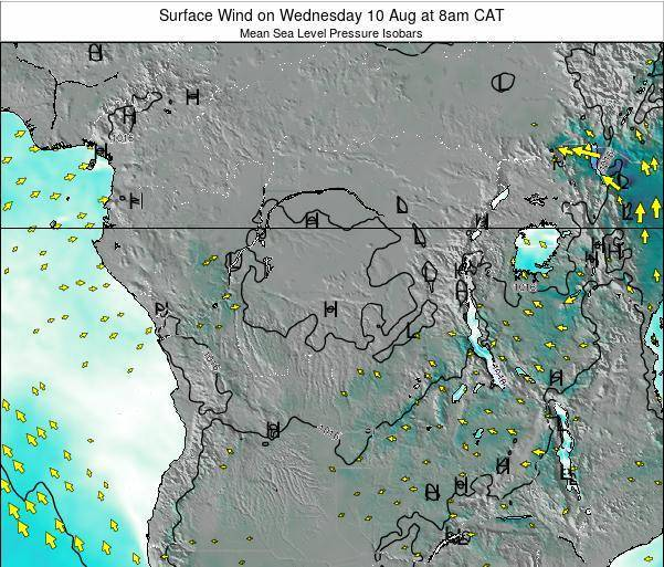 DR Congo Surface Wind on Monday 27 May at 2pm CAT map