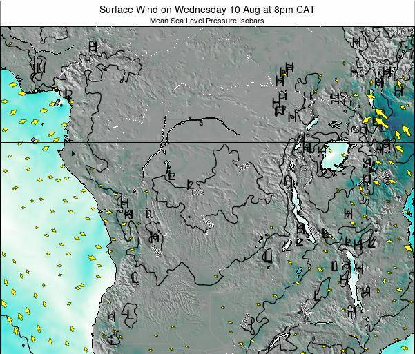 DR Congo Surface Wind on Wednesday 26 Jun at 2am CAT map
