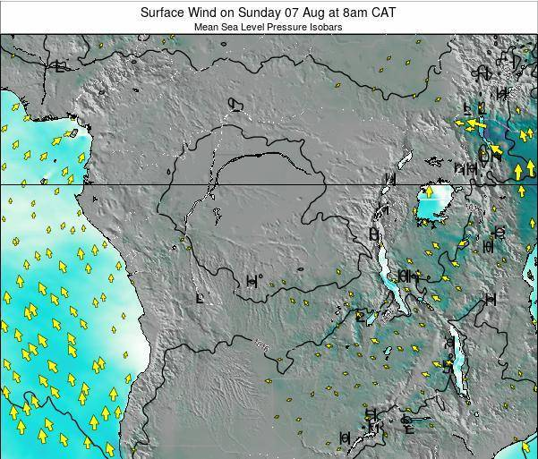 DR Congo Surface Wind on Monday 20 May at 8am CAT map