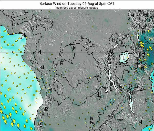 DR Congo Surface Wind on Friday 24 May at 2pm CAT map