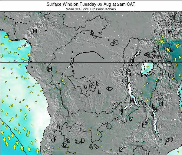 DR Congo Surface Wind on Sunday 23 Jun at 2am CAT map