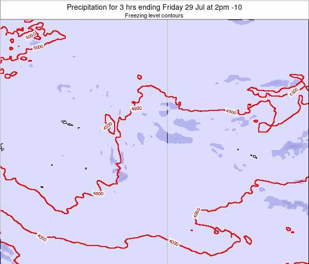 Cook Islands Precipitation for 3 hrs ending Monday 29 Oct at 8am CKT map