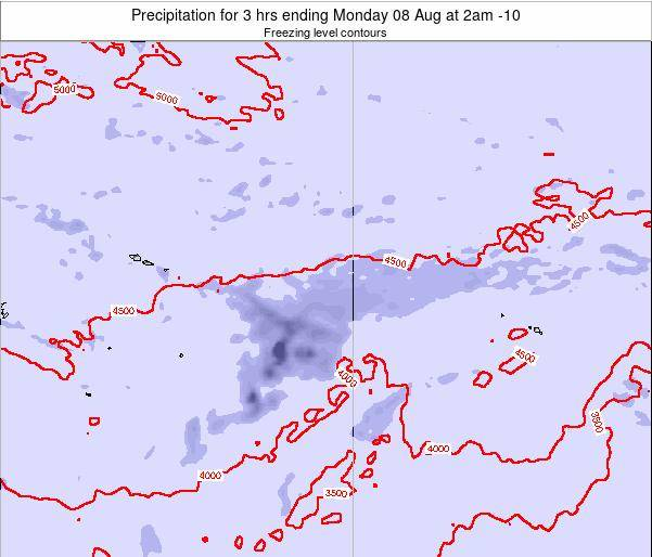 Cook Islands Precipitation for 3 hrs ending Monday 15 Feb at 8am CKT