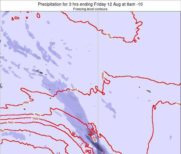 Cook Islands Precipitation for 3 hrs ending Thursday 04 Aug at 8am CKT