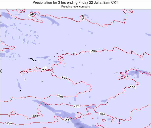 Cook Islands Precipitation for 3 hrs ending Friday 23 Aug at 8am CKT map