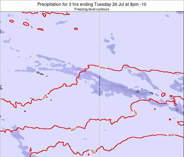 Cook Islands Precipitation for 3 hrs ending Wednesday 13 Dec at 2am CKT map