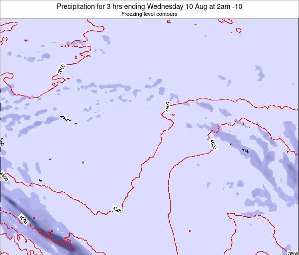 Cook Islands Precipitation for 3 hrs ending Monday 21 Apr at 8am CKT