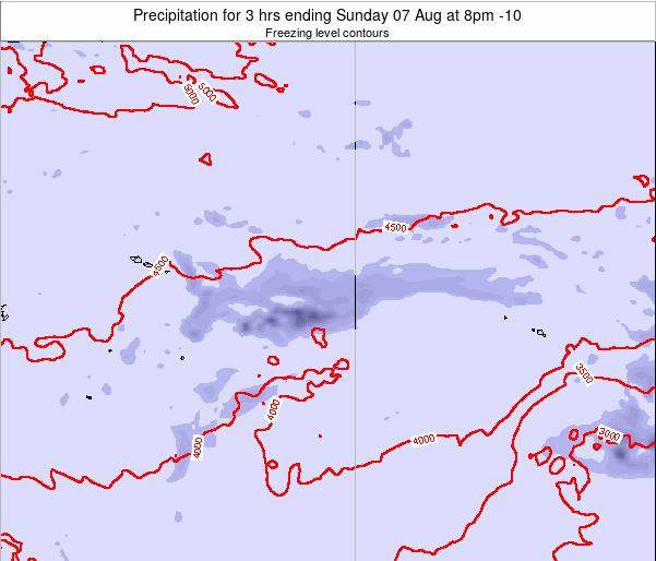 Cook Islands Precipitation for 3 hrs ending Monday 09 Dec at 8am CKT