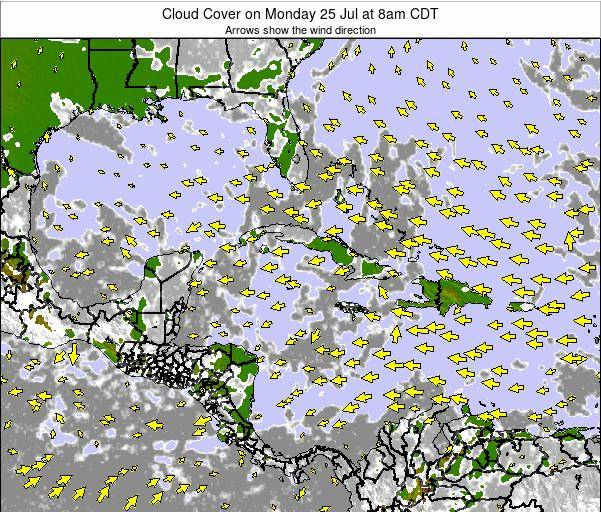 Cuba Cloud Cover on Tuesday 11 Mar at 2pm CDT map