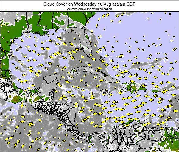 The Bahamas Cloud Cover on Monday 25 Aug at 2am CDT