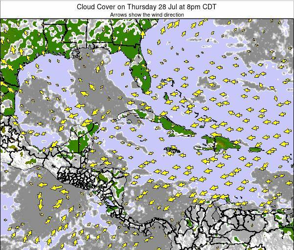 Jamaica Cloud Cover on Thursday 30 May at 2pm CDT