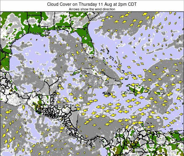Jamaica Cloud Cover on Monday 27 May at 8pm CDT
