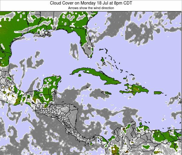 The Bahamas Cloud Cover on Monday 22 Jan at 1pm CST map