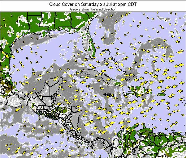 Cayman Islands Cloud Cover on Thursday 31 Jul at 8pm CDT