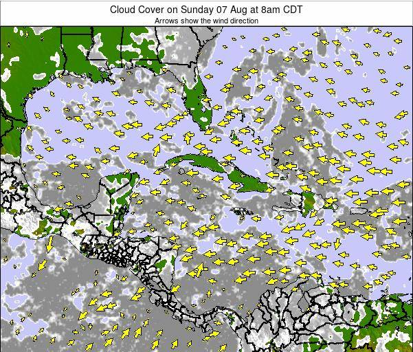 Jamaica Cloud Cover on Friday 21 Jun at 8am CDT