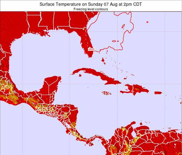 Jamaica Surface Temperature on Thursday 24 Apr at 2pm CDT