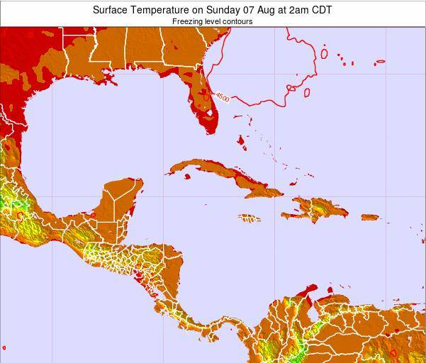 Turks and Caicos Islands Surface Temperature on Monday 20 May at 2pm CDT map