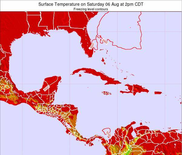 Cayman Islands Surface Temperature on Thursday 24 Apr at 2pm CDT