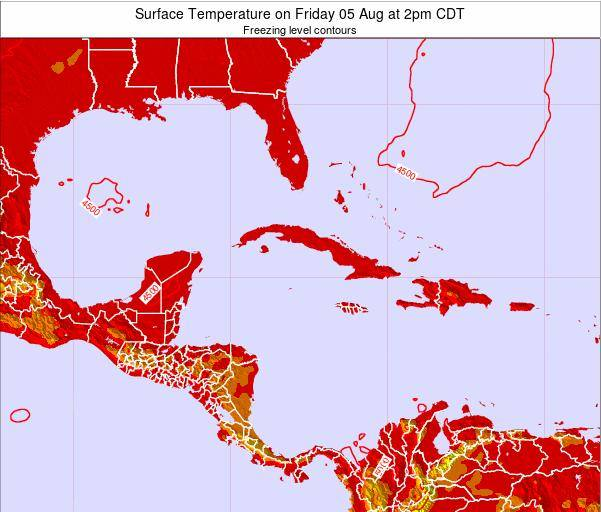 Cayman Islands Surface Temperature on Thursday 12 Dec at 7pm CST