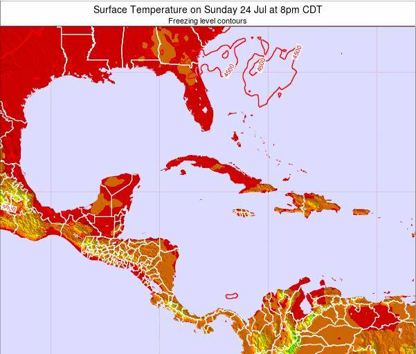 Cayman Islands Surface Temperature on Monday 21 Apr at 8am CDT